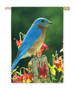 """Bluebird Standing"" Printed Seasonal House Flag; Polyester"