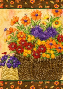 """Basket of Mums"" Printed Seasonal House Flag; Polyester"
