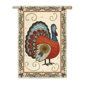 """Turkey with Sunflower"" Printed Seasonal House Flag; Polyester"