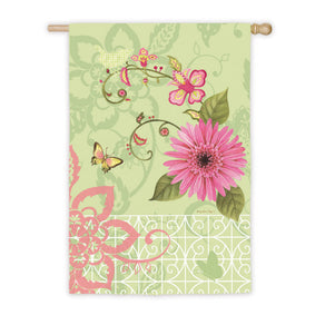 """Garden Party"" Printed Seasonal House Flag; Polyester"
