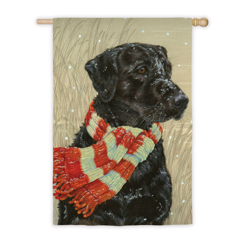 "Load image into Gallery viewer, ""Winter Wrapped Up Retriever"" Printed Seasonal House Flag; Polyester"