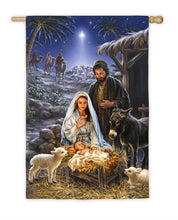 "Load image into Gallery viewer, ""A Savior is Born"" Printed Seasonal House Flag; Polyester"