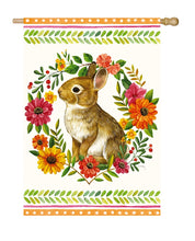 "Load image into Gallery viewer, ""Woodland Wonder Rabbit"" Printed Seasonal House Flag; Polyester"