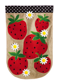 """Summer Strawberries"" Printed Burlap Seasonal House Flag; Polyester"