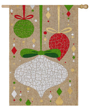 "Load image into Gallery viewer, ""Christmas Ornament Crackle"" Printed Burlap Seasonal House Flag; Polyester"