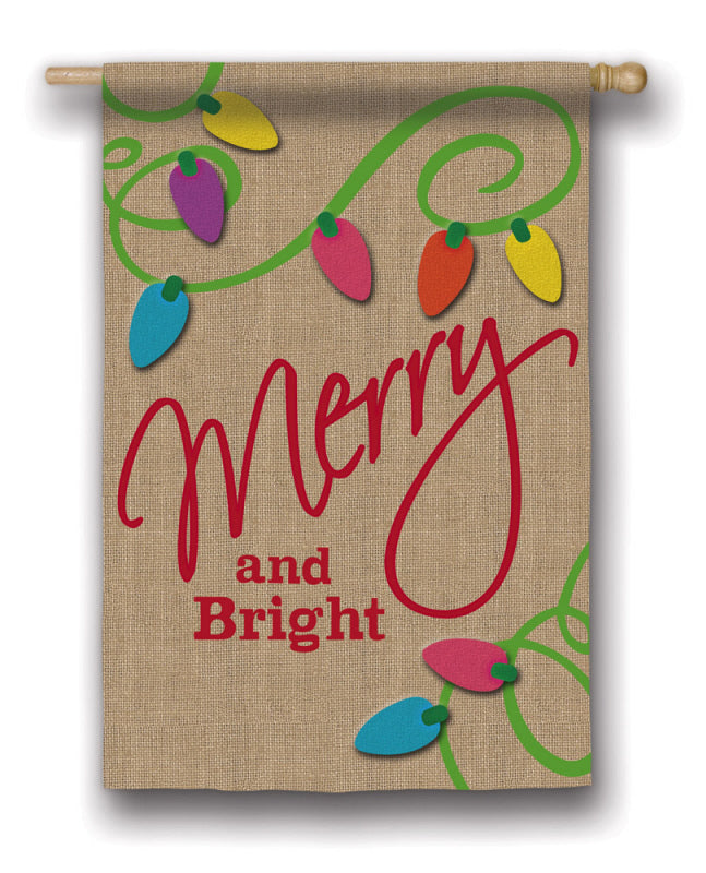 "Load image into Gallery viewer, ""Merry & Bright"" Printed Burlap Seasonal House Flag; Polyester"