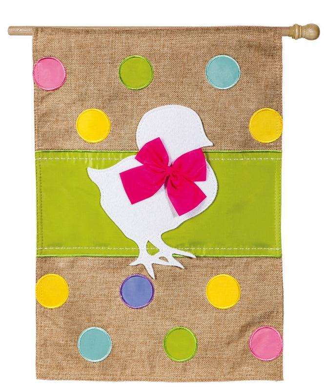 "Load image into Gallery viewer, ""Easter Chick"" Applique Burlap Seasonal House Flag; Polyester"