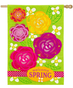 """Welcome Spring Garden Flowers"" Burlap Seasonal House Flag; Polyester"