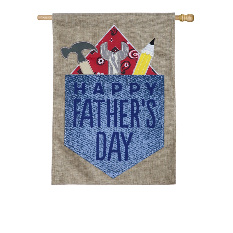 "Load image into Gallery viewer, ""Happy Fathers Day Double Sided Applique House Flag; Burlap"