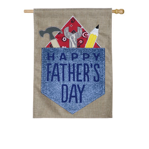 """Happy Fathers Day Double Sided Applique House Flag; Burlap"