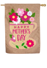 "Load image into Gallery viewer, ""Happy Mothers Day"" Double Sided Applique House Flag; Burlap"