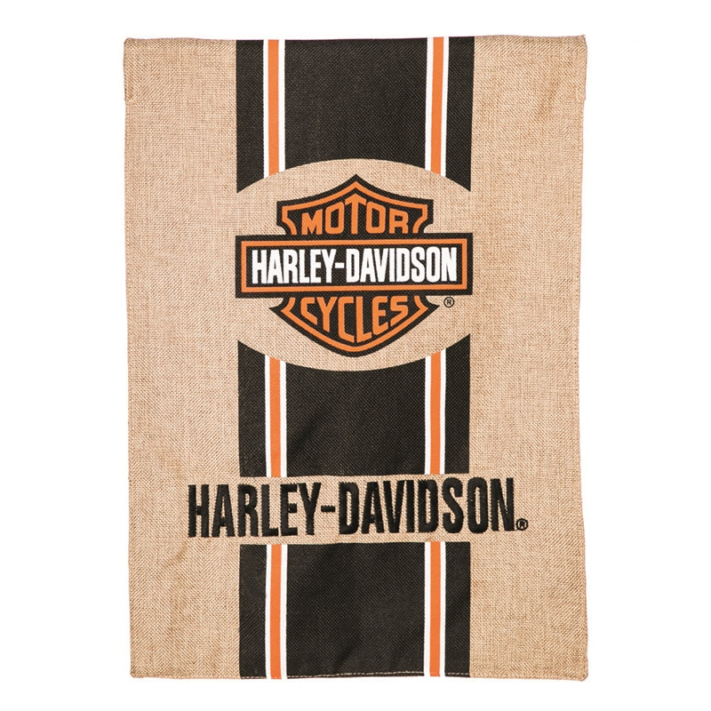 "Load image into Gallery viewer, ""Harley Davidson Bar & Shield"" Double Sided Applique House Flag; Polyester"