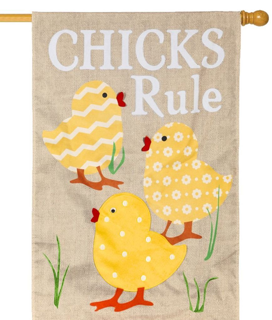 "Load image into Gallery viewer, ""Chicks Rule"" Printed Burlap Seasonal House Flag; Polyester"