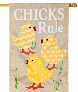 """Chicks Rule"" Printed Burlap Seasonal House Flag; Polyester"