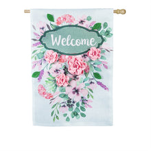 "Load image into Gallery viewer, ""Spring Floral Welcome"" Printed Burlap Seasonal House Flag; Polyester"