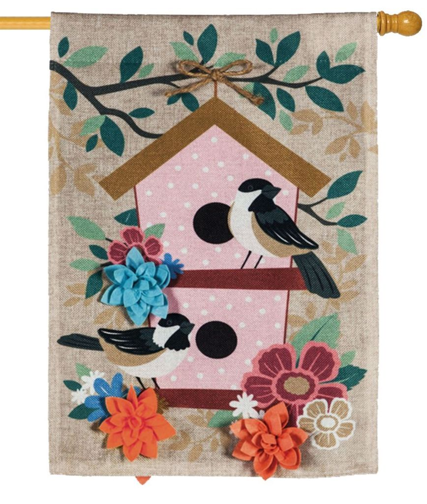 "Load image into Gallery viewer, ""Chickadee Dot Birdhouse"" Printed Seasonal House Flag; Polyester-Burlap"