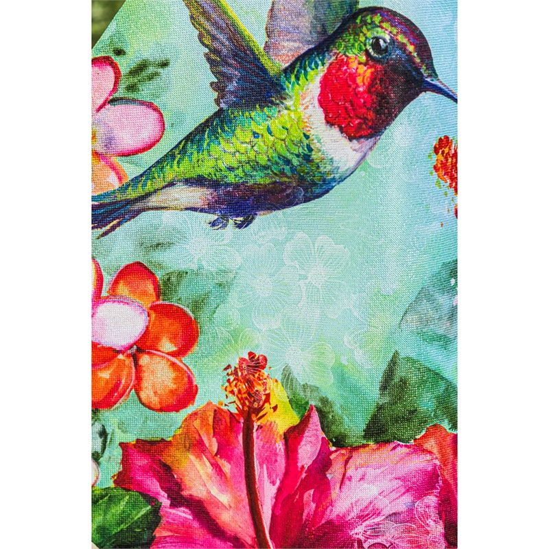 "Load image into Gallery viewer, ""Hummingbird & Hibiscus"" Printed Suede Seasonal House Flag; Polyester"