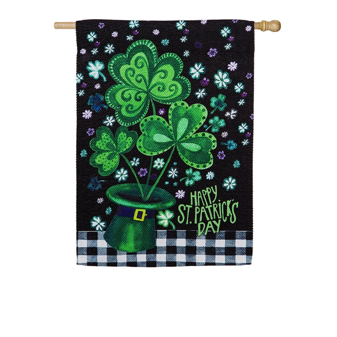 Shamrocks Buffalo Plaid Seasonal House Flag