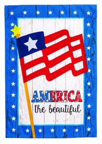 """America the Beautiful"" Printed Seasonal House Flag; Linen Textured Polyester"