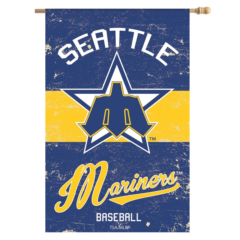 Load image into Gallery viewer, Seattle Mariners Vintage House Flag; Linen Textured Polyester