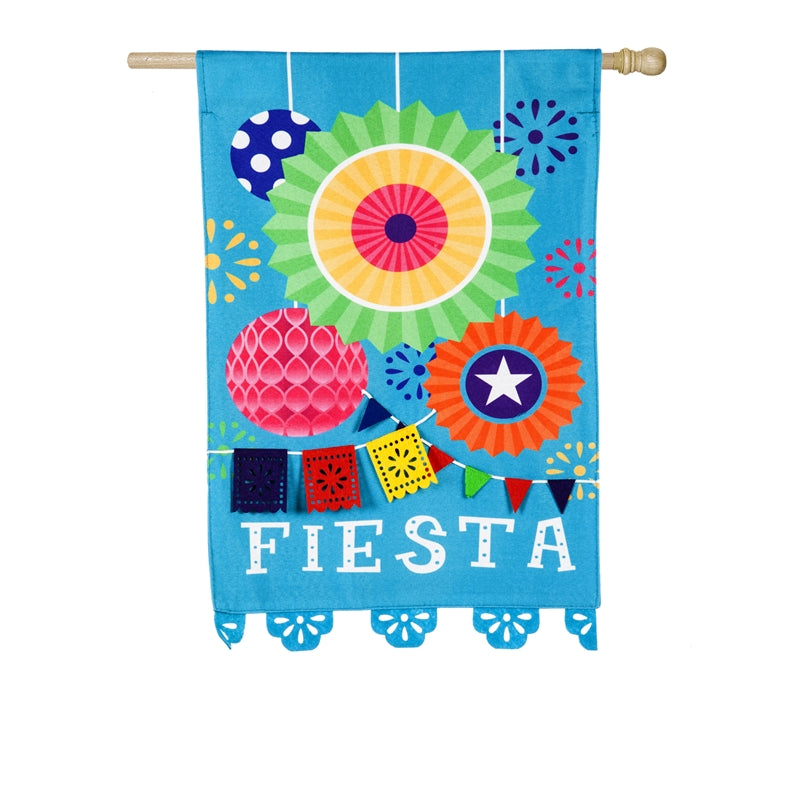 "Load image into Gallery viewer, ""Fiesta"" Printed Seasonal House Flag; Linen Textured Polyester"
