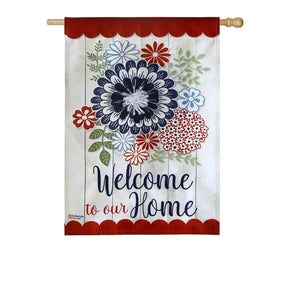 """Americana Floral Welcome"" Printed Seasonal House Flag; Linen Textured Polyester"