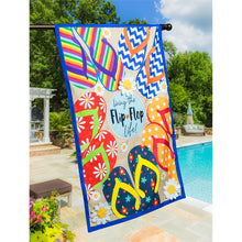 "Load image into Gallery viewer, ""Flip Flop Life"" Printed Seasonal House Flag"