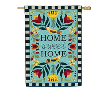 "Load image into Gallery viewer, ""Home Sweet Home"" Printed Seasonal House Flag; Linen Textured Polyester"