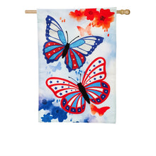 "Load image into Gallery viewer, ""Patriotic Butterflies"" Printed Seasonal House Flag; Linen Textured Polyester"