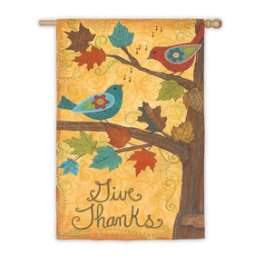 """Give Thanks Birds"" Printed Seasonal House Flag; Polyester"