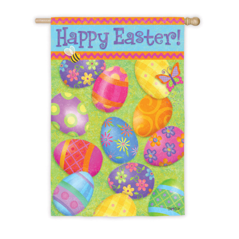 "Load image into Gallery viewer, ""Happy Easter Eggs"" Printed Suede House Flag; Polyester"