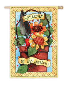 """Garden Posies"" Printed Suede Seasonal House Flag; Polyester"