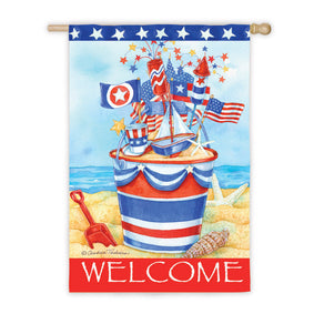 """Patriotic Welcome"" Printed Seasonal Suede House Flag; Polyester"