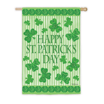 "Load image into Gallery viewer, ""Happy St.Patricks Day"" Printed Suede Seasonal House Flag; Polyester"