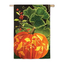 "Load image into Gallery viewer, ""Magic Fall Pumpkin"" Printed Suede Seasonal House Flag; Polyester"