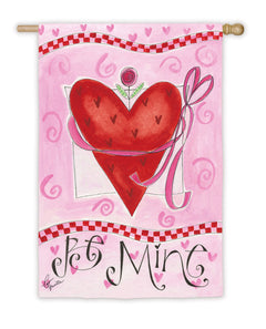 """Be Mine Happy Valentines Day"" Printed Suede Double Sided Seasonal House Flag; Polyester"
