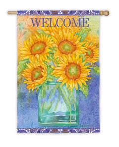 """Sunflower Blues"" Printed Suede Seasonal House Flag; Polyester"