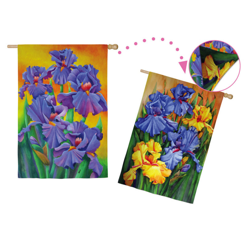 "Load image into Gallery viewer, ""Lilac Irises"" 2-Sided Printed Suede Seasonal House Flag; Polyester"