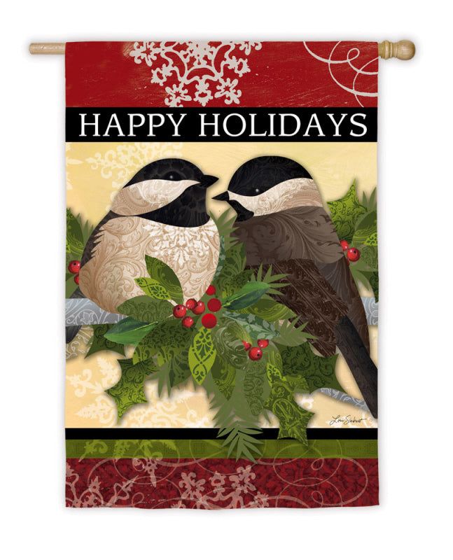 "Load image into Gallery viewer, ""Happy Holidays Feather Friends"" Printed Suede Seasonal House Flag; Polyester"