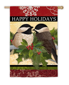 """Happy Holidays Feather Friends"" Printed Suede Seasonal House Flag; Polyester"