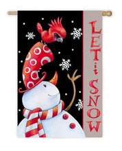 "Load image into Gallery viewer, ""Let It Snow Cardinal Hat"" Suede Embellished Printed Seasonal House Flag; Polyester"