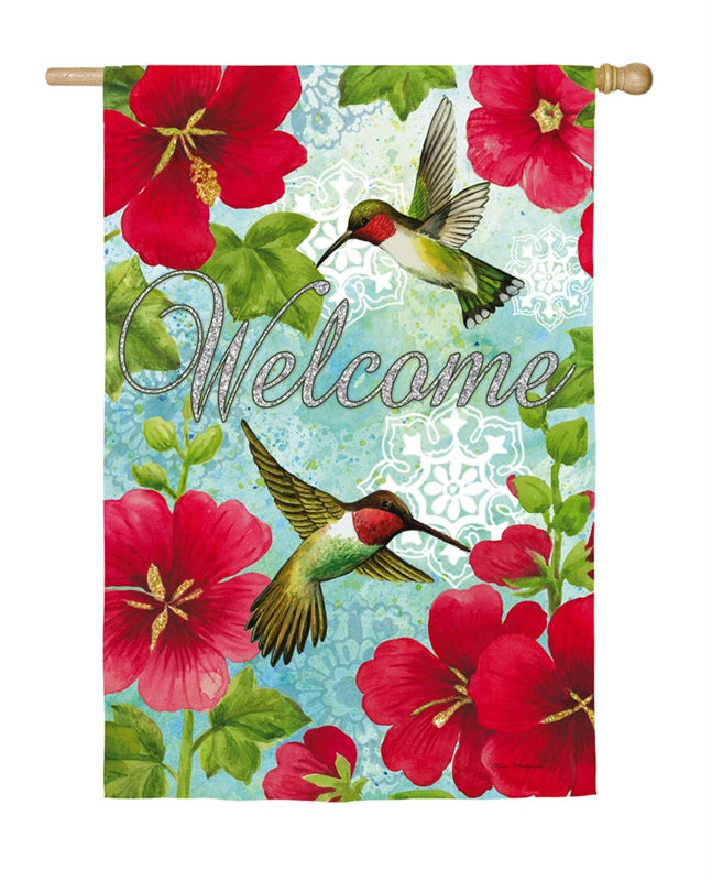 "Load image into Gallery viewer, ""Hummingbird & Hollyhock"" Printed Suede Seasonal House Flag; Polyester"