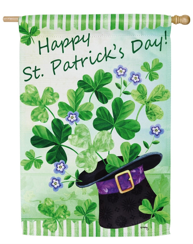 "Load image into Gallery viewer, ""Happy St Patricks Day"" Printed Suede Seasonal House Flag; Polyester"