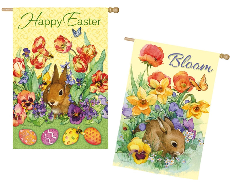 "Load image into Gallery viewer, ""Bloom Rabbit"" 2-Sided Printed Suede Seasonal House Flag; Polyester"