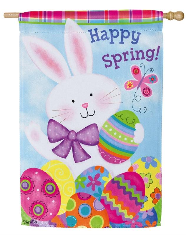 "Load image into Gallery viewer, ""Colorful Easter Bunny"" Printed Suede Seasonal House Flag; Polyester"