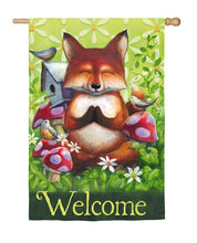 "Load image into Gallery viewer, ""Peace Garden Fox"" Printed Suede Seasonal House Flag; Polyester"