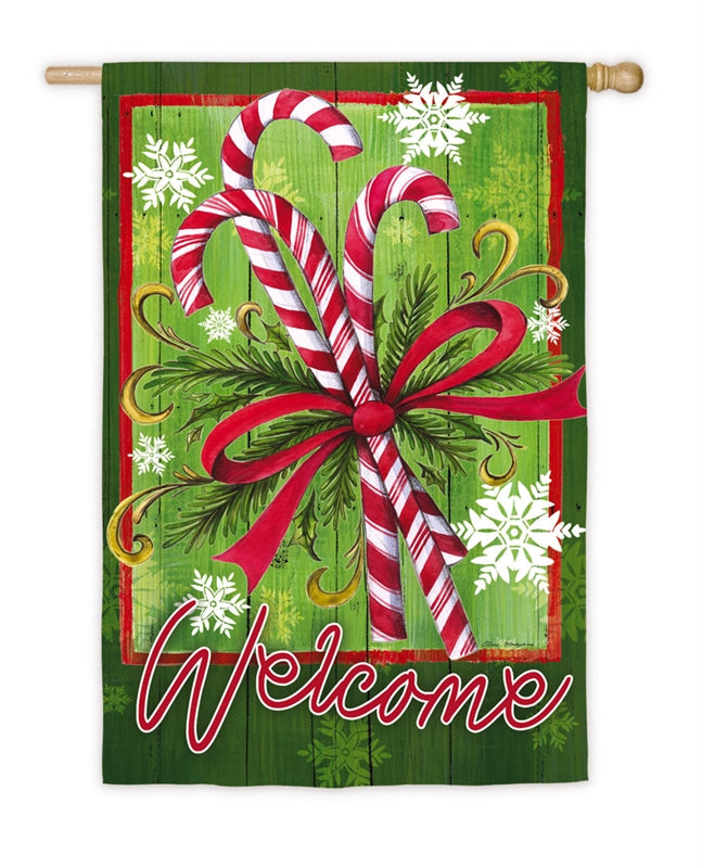 "Load image into Gallery viewer, ""Candycane & Ribbons"" Printed Suede Seasonal House Flag; Polyester"
