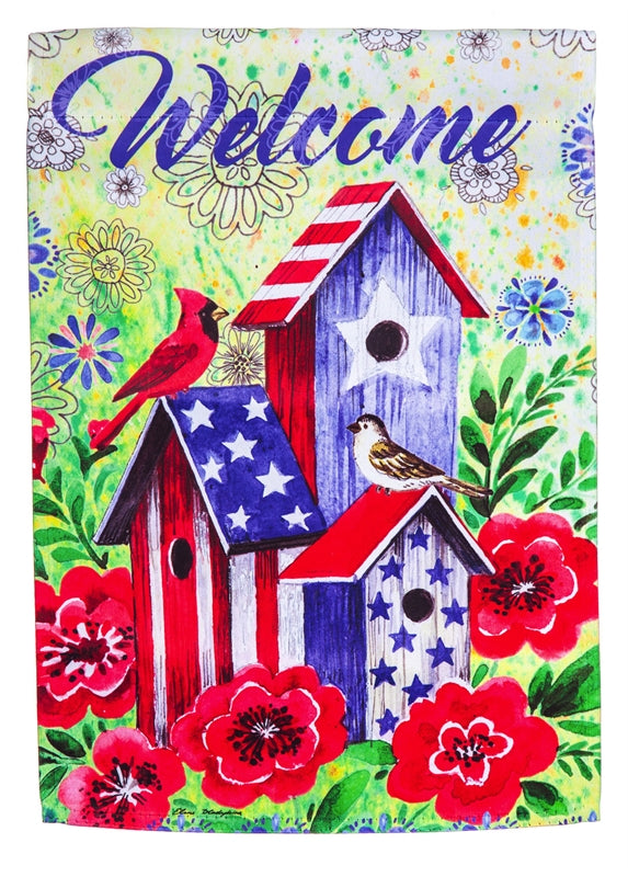 "Load image into Gallery viewer, ""American Patriotic Birdhouse"" Printed Suede Seasonal House Flag; Polyester"