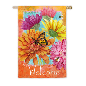 """A Colorful Welcome"" Printed Suede Seasonal House Flag; Polyester"