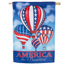 "Load image into Gallery viewer, ""Patriotic Balloons"" Printed Suede Seasonal House Flag; Polyester"